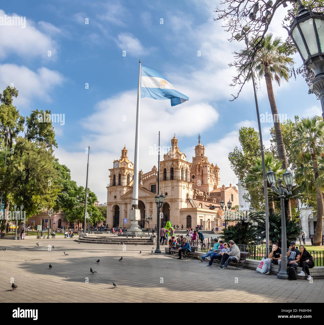 San Martin Square and Cordoba Cathedral - Cordoba, Argentina - Stock Image