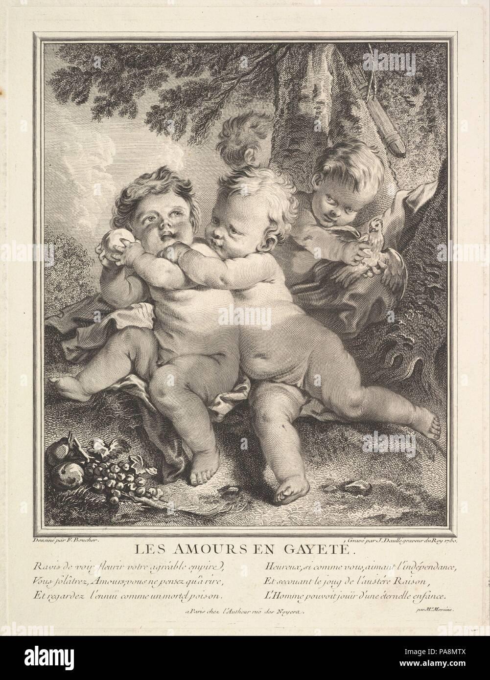 The Cheerful Cupids. Artist: After François Boucher (French, Paris 1703-1770 Paris); Jean Daullé (French, Abbeville 1703-1763 Paris). Dimensions: Plate: 13 1/2 × 10 1/4 in. (34.3 × 26.1 cm)  Sheet: 18 1/8 × 12 3/8 in. (46.1 × 31.5 cm). Date: 1750. Museum: Metropolitan Museum of Art, New York, USA. Stock Photo