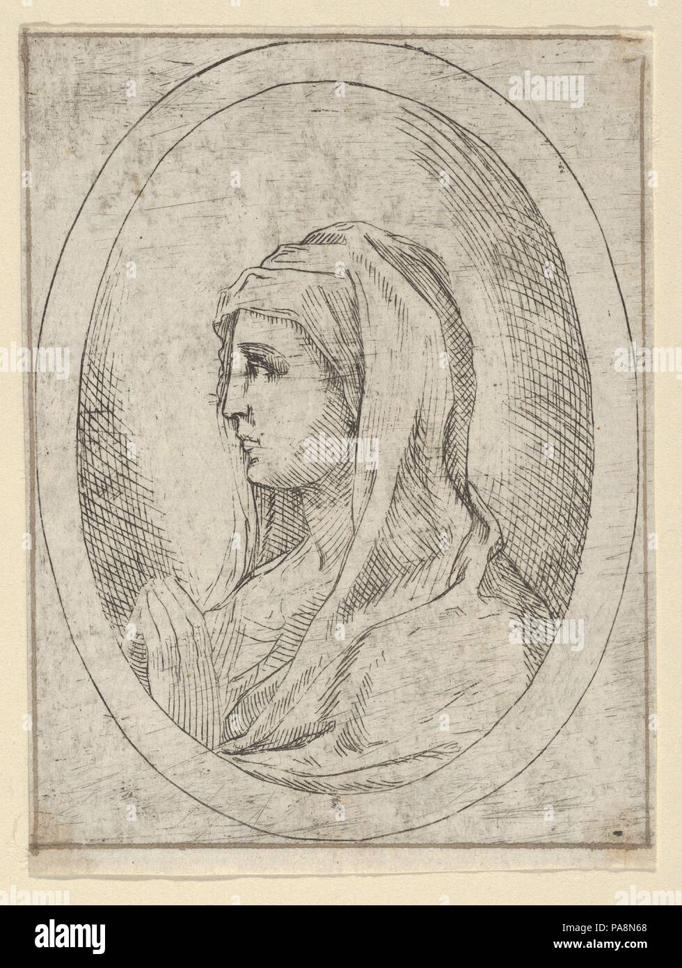 The Virgin in prayer, seen in profile facing left, in an oval frame ...