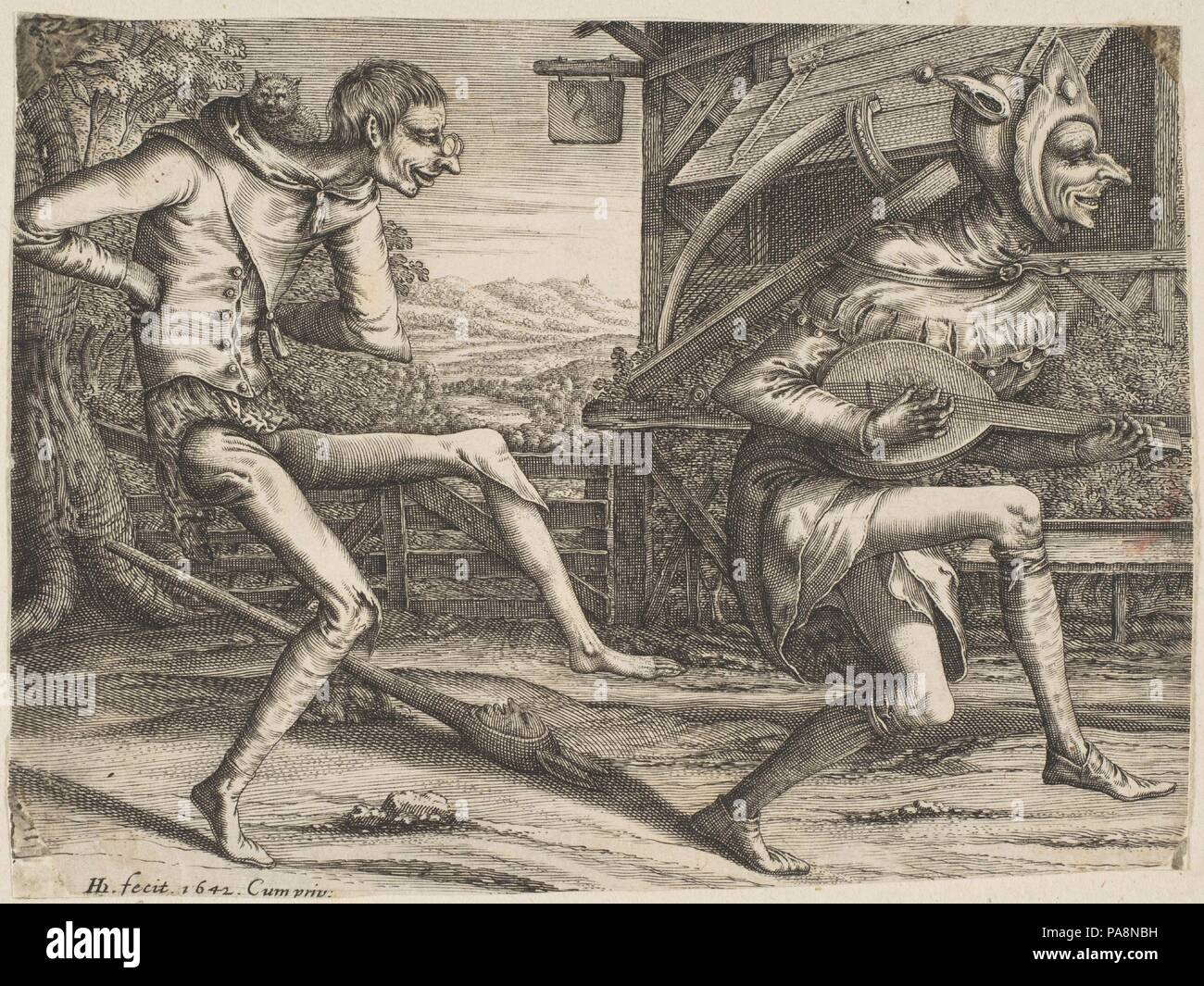 Two Fools Dancing from Two and Three Fools of the Carnival. Artist: After Pieter Bruegel the Elder (Netherlandish, Breda (?) ca. 1525-1569 Brussels); Hendrick Hondius I (Netherlandish, Duffel 1573-1650 Amsterdam). Dimensions: Sheet: 4 7/16 x 5 7/8 in. (11.2 x 15 cm). Date: 1642. Museum: Metropolitan Museum of Art, New York, USA. - Stock Image