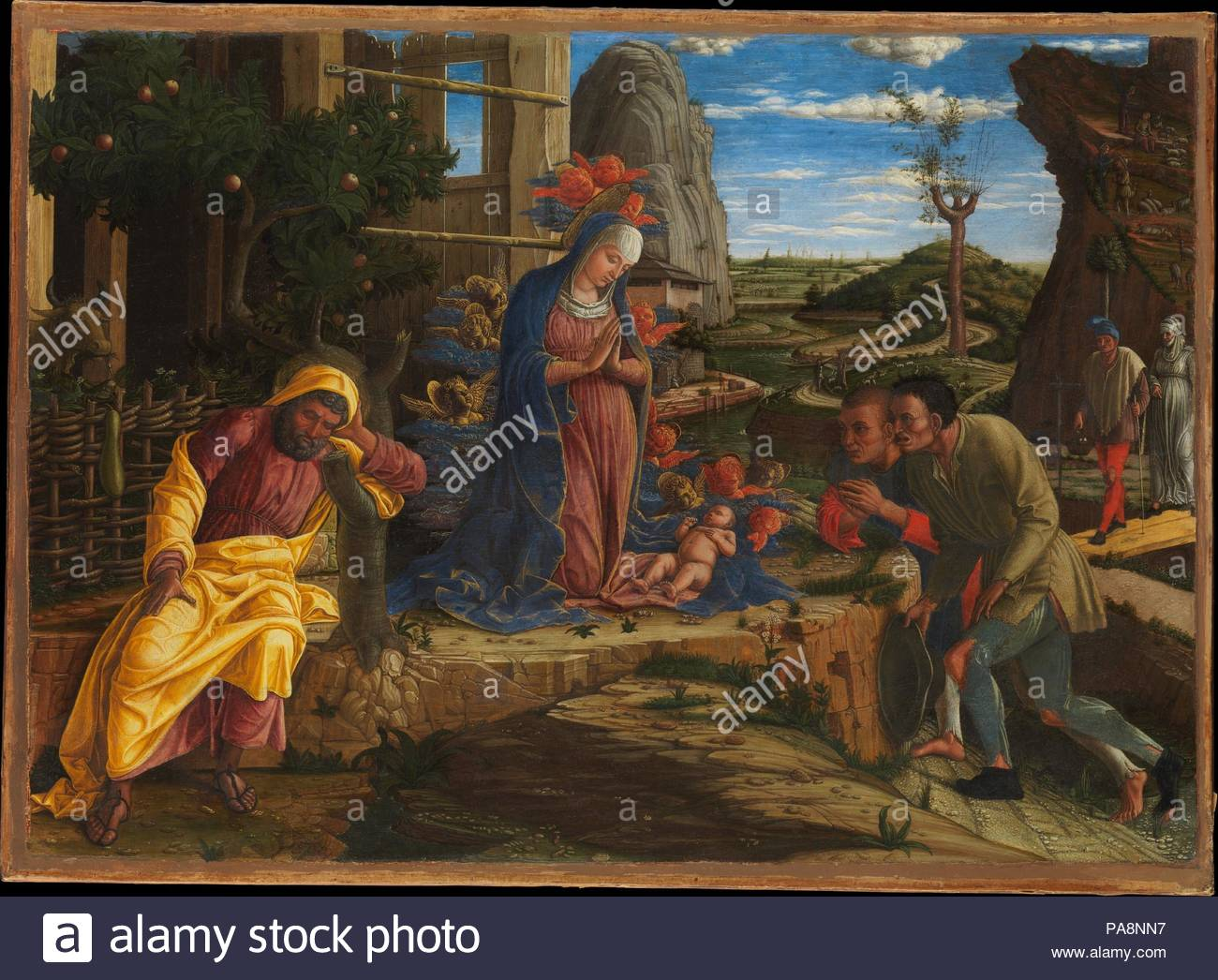 The Adoration of the Shepherds. Artist: Andrea Mantegna (Italian, Isola di Carturo 1430/31-1506 Mantua). Dimensions: Overall 15 3/4 x 21 7/8 in. (40 x 55.6 cm); painted surface 14 7/8 x 21 in. (37.8 x 53.3 cm). Date: shortly after 1450.  Painted when the artist was probably in his early twenties, the picture is notable for its exquisite detail. It may have been commissioned by Borso d'Este, the duke of Ferrara, and its style seems to be a response to the vogue there for Netherlandish painting. Ahough transferred from wood to canvas, the painting is in excellent condition. Museum: Metropolitan  - Stock Image