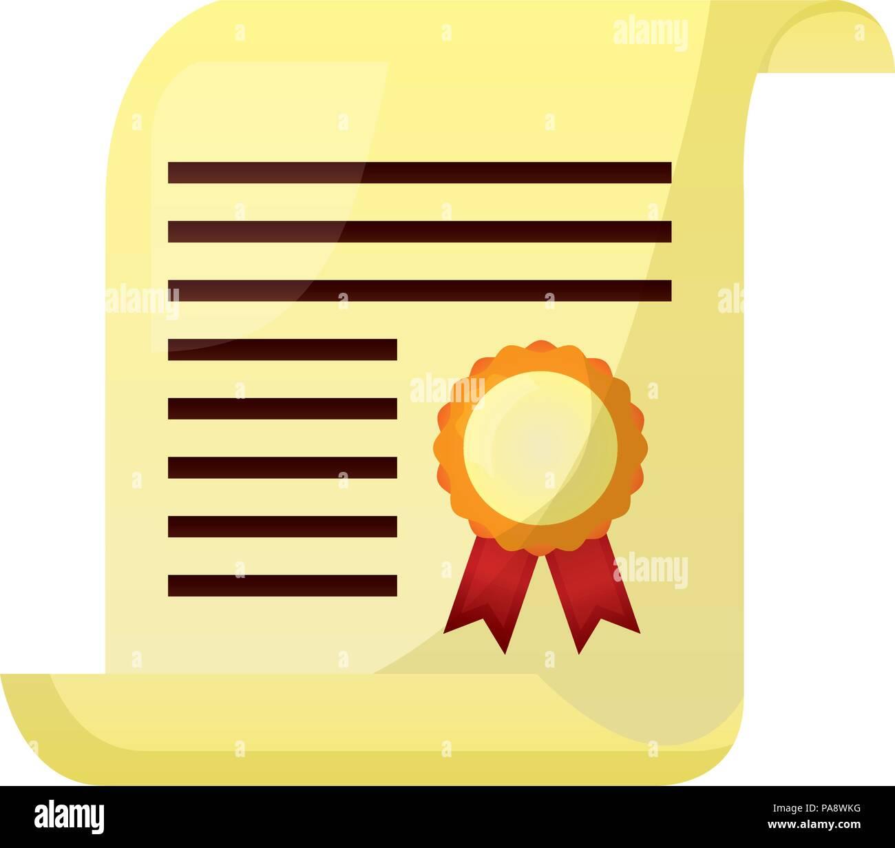 school graduation certificate diploma document - Stock Image