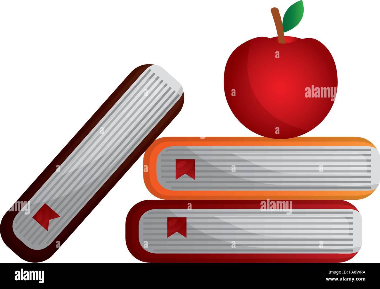 School Books And Apple Symbol Stock Vector Art Illustration