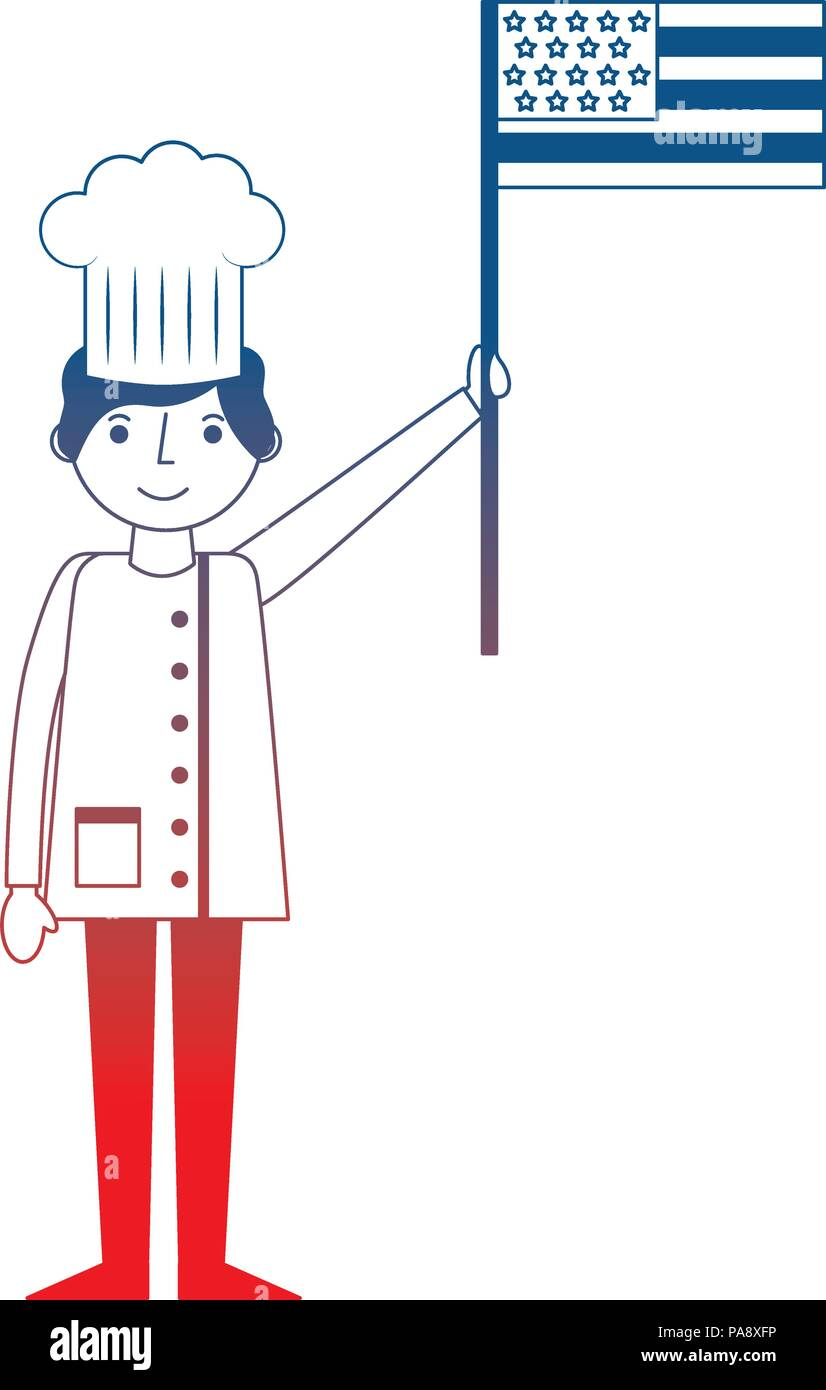 chef man professional holding american flag labor day - Stock Image