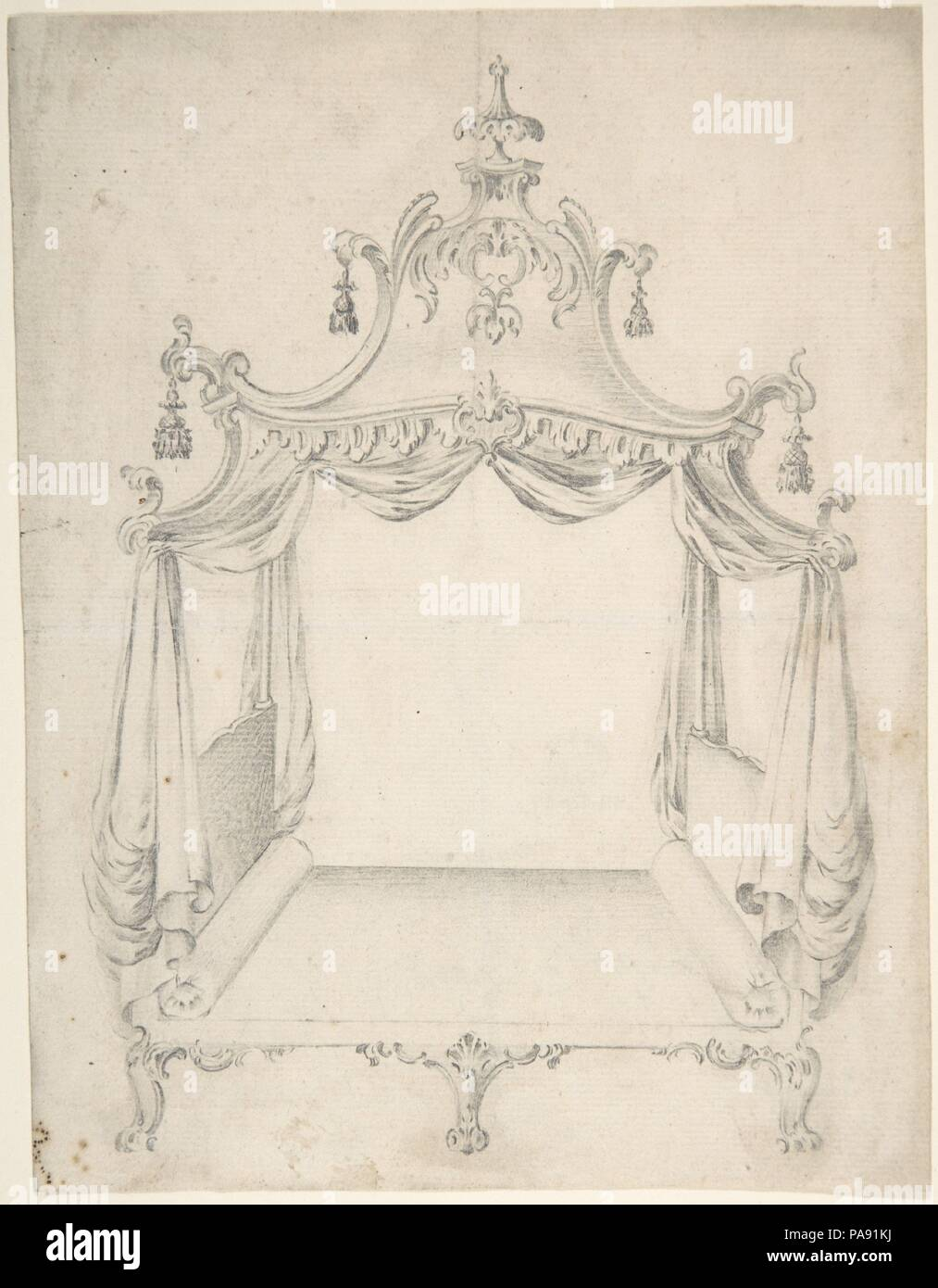 Design for a Four-poster Bed with Hangings. Artist: Anonymous, British, 18th century. Dimensions: sheet: 8 3/4 x 6 3/4 in. (22.2 x 17.1 cm). Date: 18th century. Museum: Metropolitan Museum of Art, New York, USA. - Stock Image
