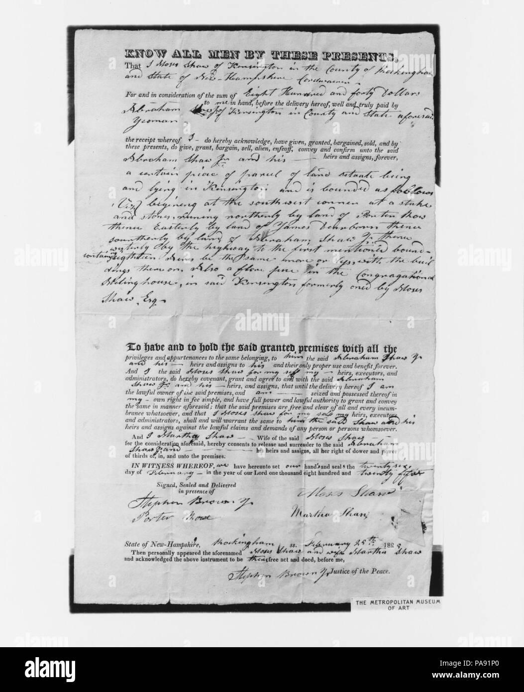 Manuscript Deed for Shaw Homestead, Kensington, New