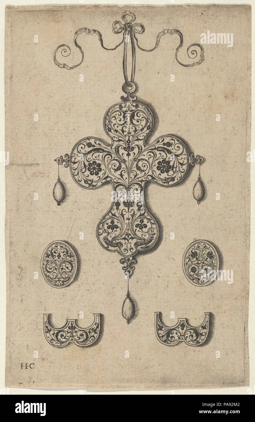 Design for the Verso of a Cross-Shaped Pendant Above a Pair of Oval Ornaments and Axe-Shaped Ornaments. Artist: Jan Collaert I (Netherlandish, Antwerp ca. 1530-1581 Antwerp). Dimensions: Sheet: 5 13/16 × 3 15/16 in. (14.8 × 10 cm). Publisher: published by Hans Liefrinck (Augsburg (?) 1518?-1573 Antwerp). Series/Portfolio: Pendant Designs with Architectural Elements and Vegetal-Arabesques. Date: before 1573.  Vertical panel with the design for the verso of a pendant at center in the shape of a cross with an arabesque pattern. At bottom left and right, oval ornaments above axe-shaped ornaments,  - Stock Image