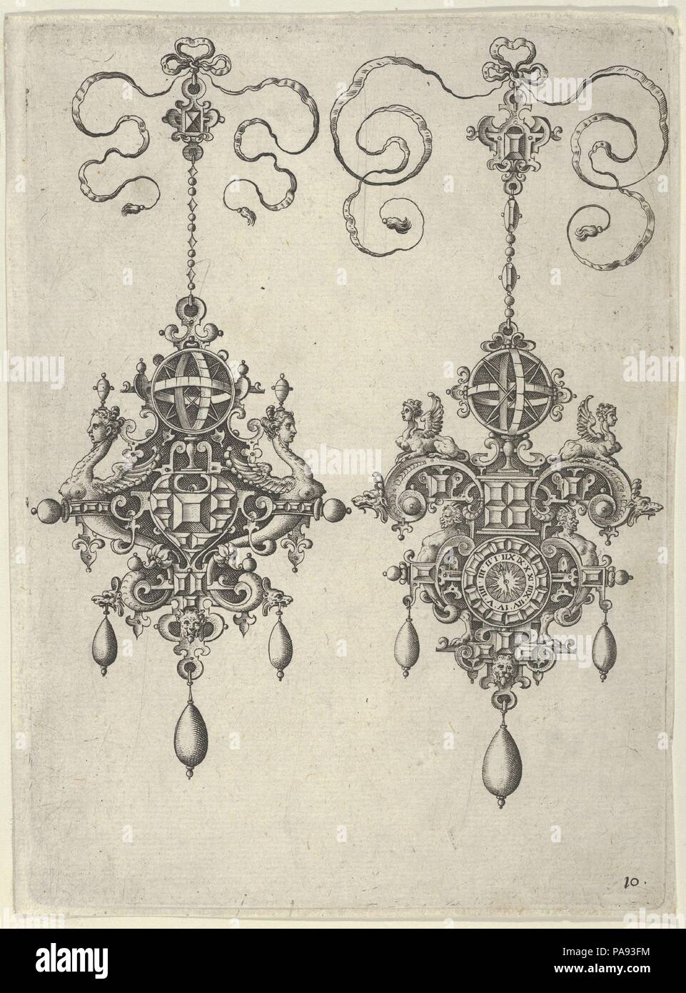 Two Pendant Designs with Sun-Dials on Top. Artist: Jan Collaert I (Netherlandish, Antwerp ca. 1530-1581 Antwerp). Dimensions: Sheet: 6 15/16 × 5 3/16 in. (17.7 × 13.2 cm). Series/Portfolio: Designs for Pendants I. Date: after 1581.  Vertical panel with two pendant designs with strapwork and grotesques. Both ornaments are suspended from small jewelled motifs tied with ribbon above and are topped by circular sun-dials. The design at left shows two outward-facing grotesques with female heads on serpentine necks. The design at right has griffins flanking the sun-dial and a clock at bottom center.  - Stock Image