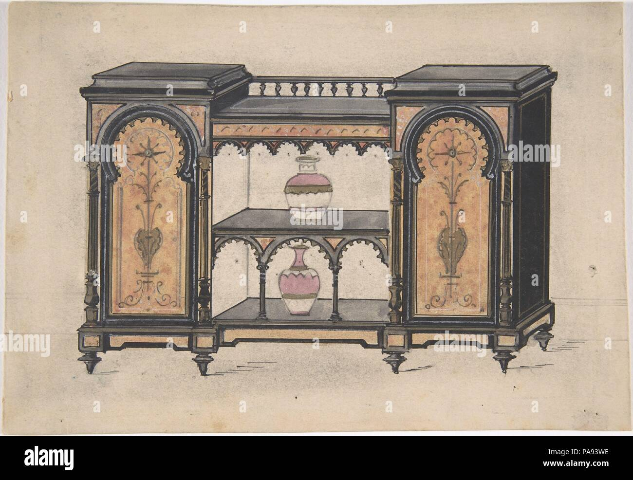Design for a Cabinet with Two Central Shelves and Arched Doors. Artist: Anonymous, British, 19th century. Dimensions: sheet: 5 3/16 x 7 9/16 in. (13.1 x 19.2 cm). Date: 19th century. Museum: Metropolitan Museum of Art, New York, USA. - Stock Image