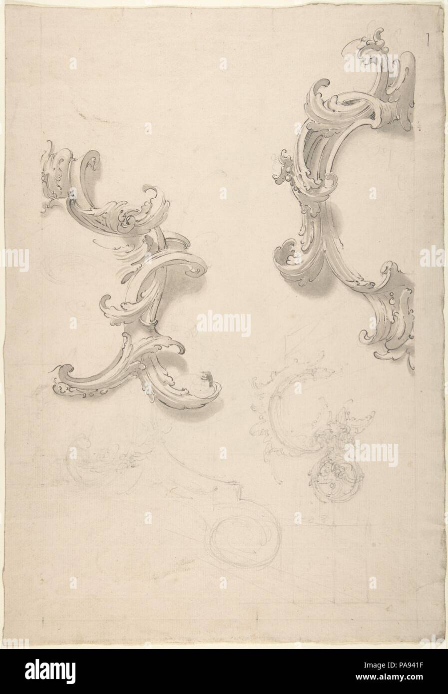 Ornamental Design with Acanthus Leaves (recto), Capital (verso). Artist: Anonymous, Italian, 18th century. Dimensions: 10 x 14-13/16 in. Date: 18th century. Museum: Metropolitan Museum of Art, New York, USA. - Stock Image