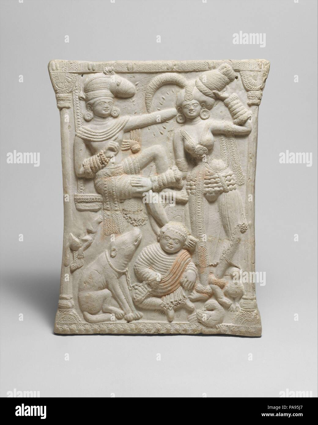 Plaque with a Royal Family. Culture: India (West Bengal, Chandraketugarh).  Dimensions: H. 12 3/4 in. (32.5 cm); W. 10 1/4 in. (26 cm).