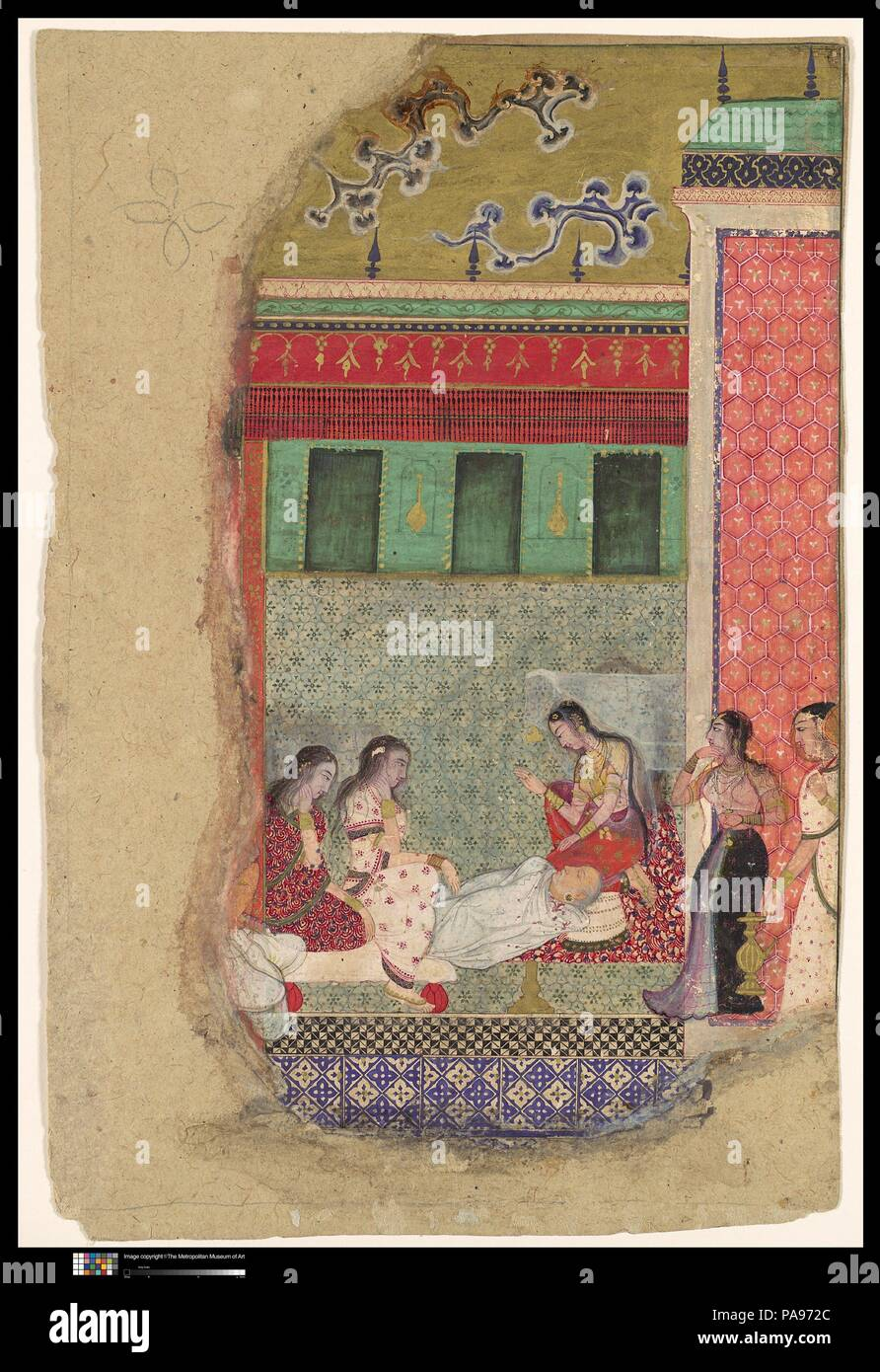 'The Death of King Dasharatha, the Father of Rama', Folio from a Ramayana. Dimensions: Painting: H. 10 1/2 in. (26.7 cm)  W. 5 13/16 in. (14.8 cm)  Page: H. 10 7/8 in. (27.6 cm)   W. 7 1/2 in. (19.1 cm)  Mat: H. 19 1/4 in. (48.9 cm)  W. 14 1/4 in. (36.2 cm). Date: ca. 1605.  King Dasharatha emerges in the Ramayana as essentially a noble character, though flawed by the weakness that allowed him to be swayed by his second wife Kaikeyi, whose ambitions for her own son caused the king to banish the crown prince Rama for fourteen years. Having succumbed to this pressure, Dasharatha, plagued by regr - Stock Image