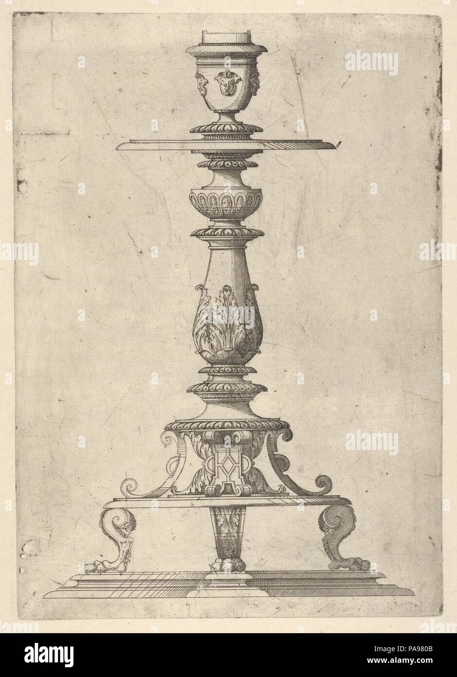 Design for a Candlestick. Artist: Jacques Androuet Du Cerceau (French, Paris 1510/12-1585 Annecy). Dimensions: Plate: 11 5/8 × 8 1/4 in. (29.5 × 21 cm)  Sheet: 14 11/16 × 10 13/16 in. (37.3 × 27.5 cm). Date: 1548-49.  This design for a candlestick was made by the French artist Jacques Androuet Du Cerceau who was a proliferous designer of architecture, ornament and the decorative arts. His style and works are mainly known through the prints and books he produced and published in Orléans. In his works he combines French and Italian elements into heavily ornate designs which were very popular at  Stock Photo