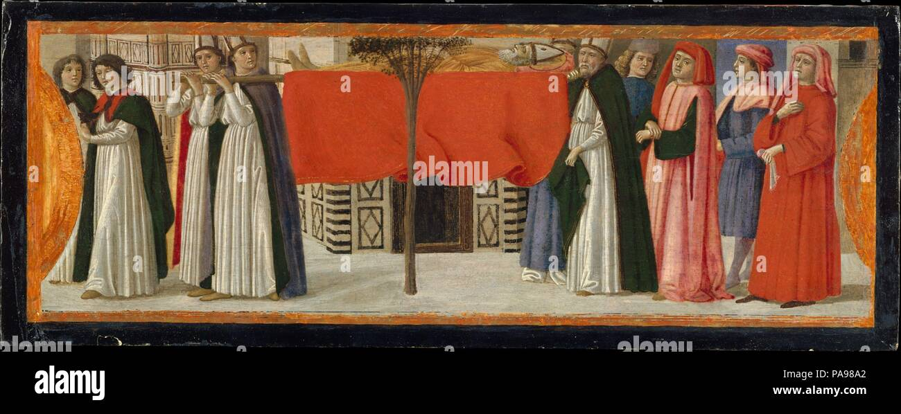 The Burial of Saint Zenobius. Artist: Davide Ghirlandaio (David Bigordi) (Italian, Florence 1452-1525 Florence). Dimensions: 6 1/4 x 16 1/4 in. (15.9 x 41.3 cm). Date: ca. 1479.  Davide Ghirlandaio painted these three enchanting scenes about 1479 for the base (predella) of an important altarpiece commissioned from his brother, Domenico, for the church of San Giusto alle Mura outside Florence. Two further scenes are known; the main panel is in the Uffizi in Florence.  According to legend, at the burial of Saint Zenobius a dead tree sprang to life when it was touched by the saint's bier. The bap - Stock Photo
