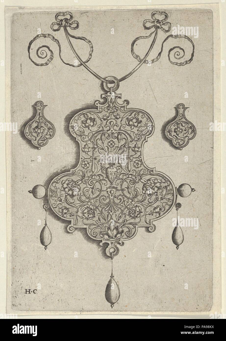 Design for the Verso of a Pendant with a Vase at Center. Artist: Jan Collaert I (Netherlandish, Antwerp ca. 1530-1581 Antwerp). Dimensions: Sheet: 5 7/8 × 4 1/16 in. (14.9 × 10.3 cm). Publisher: published by Hans Liefrinck (Augsburg (?) 1518?-1573 Antwerp) , in Antwerp. Series/Portfolio: Pendant Designs with Deities in Niches and Flower-Arabesques. Date: before 1573.  Vertical panel with the design for a pendant verso at center. The ornament is decorated with a flower-arabesque pattern inhabited by insects, with a vase and bouquet under a strapwork frame at center. Flanking the central motif a - Stock Image