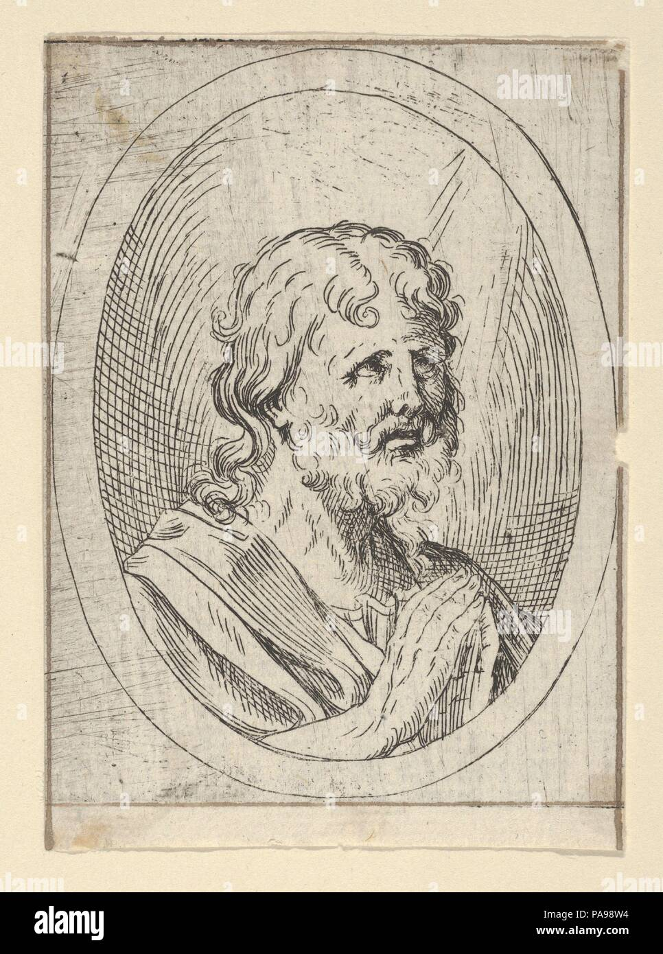 An apostle raising his eyes in prayer, in an oval frame, from Christ ...