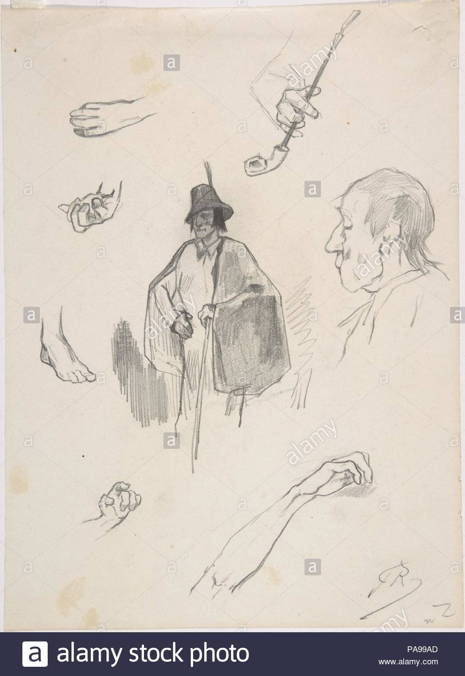 Sheet with figures, details of hands and feet. Artist: Félicien Rops  (Belgian, Namur 1833-1898 Essonnes). Dimensions: sheet: 8-3/4 x 6-7/16.  Date: ca. 1870.