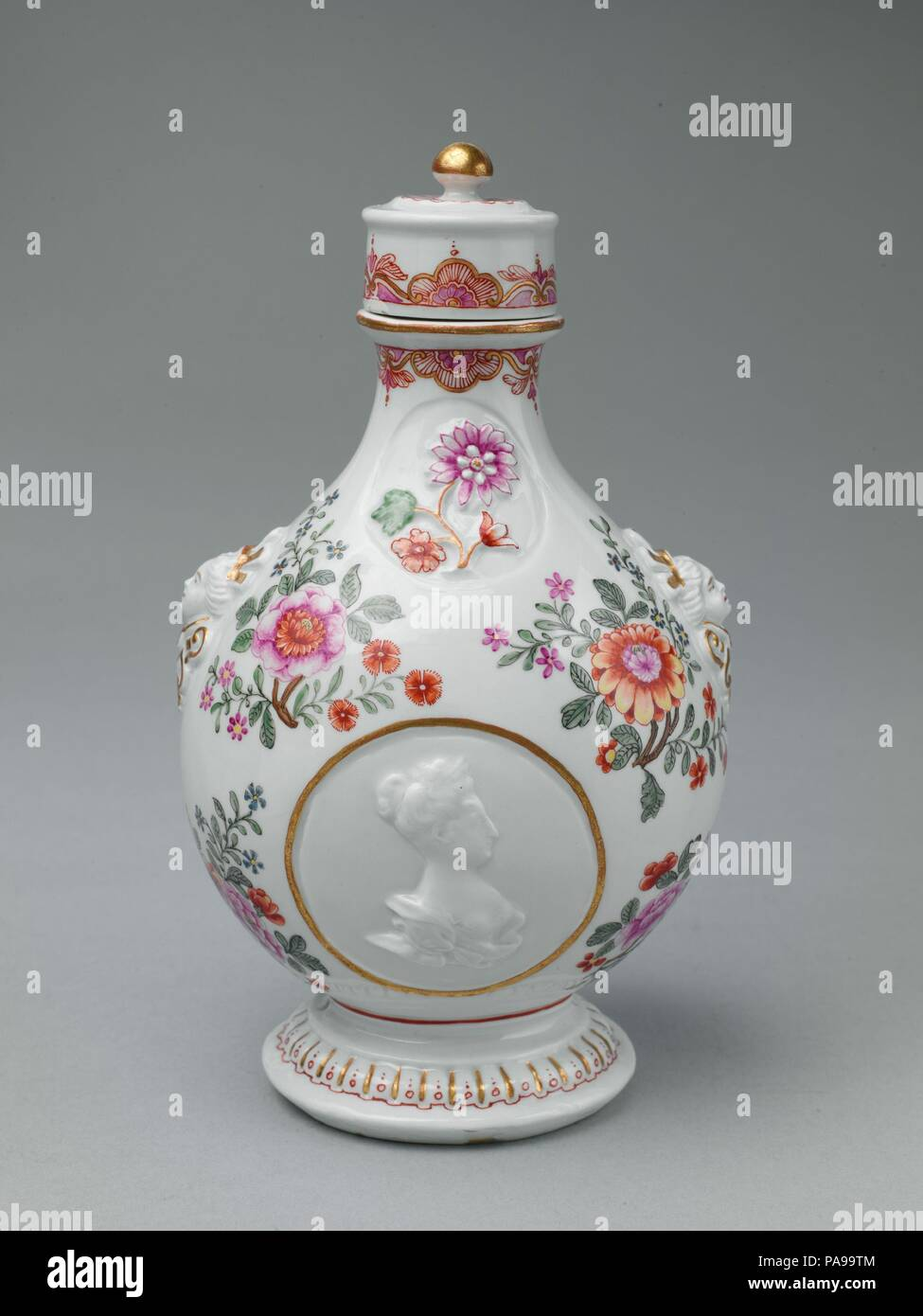 Pilgrim bottle with cover. Culture: Austrian, Vienna. Dimensions: H. with cover 8-1/2 in. (21.6 cm.). Factory: Vienna. Factory director: Du Paquier period (1718-1744). Date: ca. 1725-30.  This bottle is decorated with low-relief portraits of the Habsburg Emperor Charles VI (1685-1740) and Empress Elizabeth (1691-1750), rulers of Austria. Museum: Metropolitan Museum of Art, New York, USA. - Stock Image