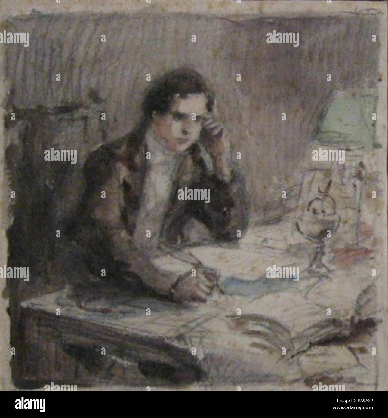 168 Mariano Moreno en su mesa de trabajo (borrador) Stock Photo