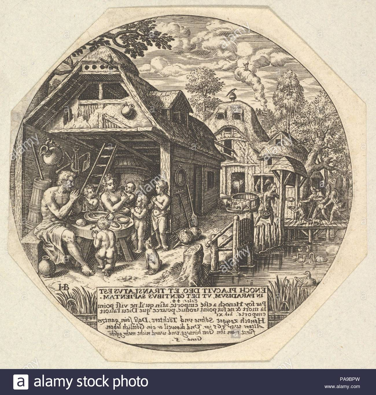 Enoch And His Family Surrounding A Meal Table And Holding Their