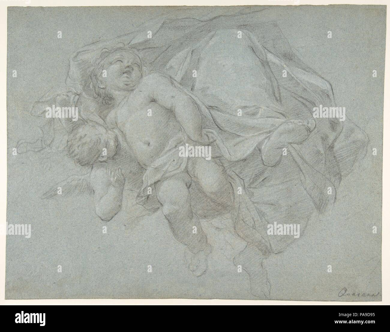 Two Putti Supporting the Lower Part of a Draped Figure (recto); Two Putti (verso). Artist: Jacopo Guarana (Italian, Venice 1720-1808 Venice). Dimensions: 10 11/16 x 13 11/16in. (27.1 x 34.8cm). Date: 1720-1808. Museum: Metropolitan Museum of Art, New York, USA. - Stock Image