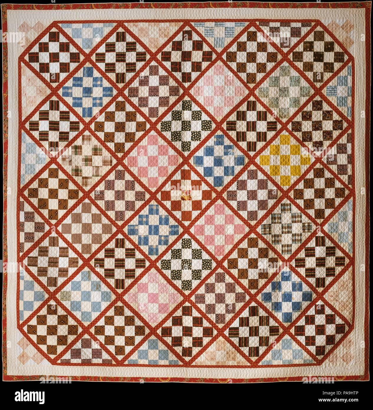 Quilt, Nine Patch pattern variation  Culture: American