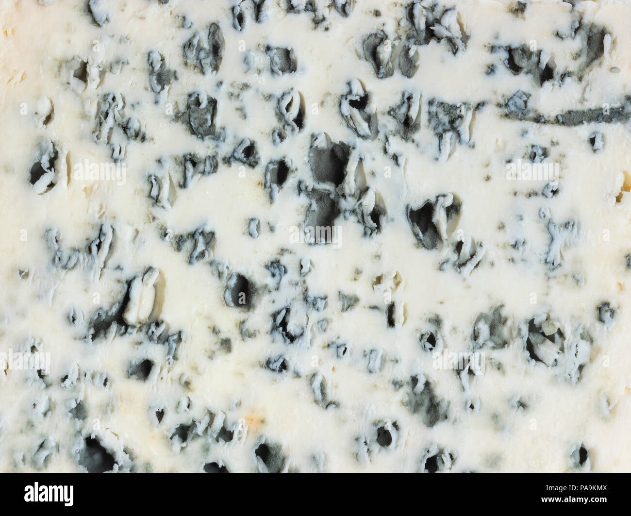 Blue cheese texture or background. Close up. - Stock Image