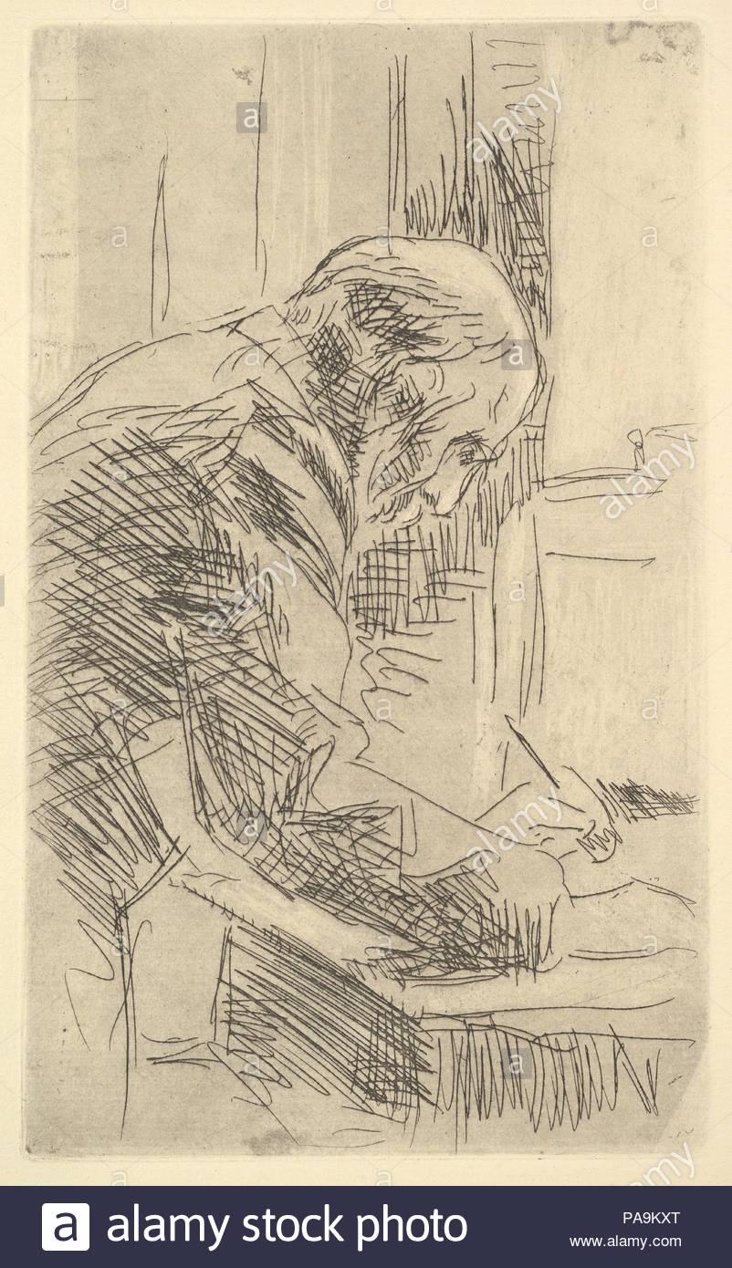 The Printmaker. Artist: Édouard Vuillard (French, Cuiseaux 1868-1940 La Baule). Dimensions: sheet: 13 1/16 x 10 1/16 in. (33.1 x 25.5 cm). Date: late 19th-mid-20th century. Museum: Metropolitan Museum of Art, New York, USA. - Stock Image