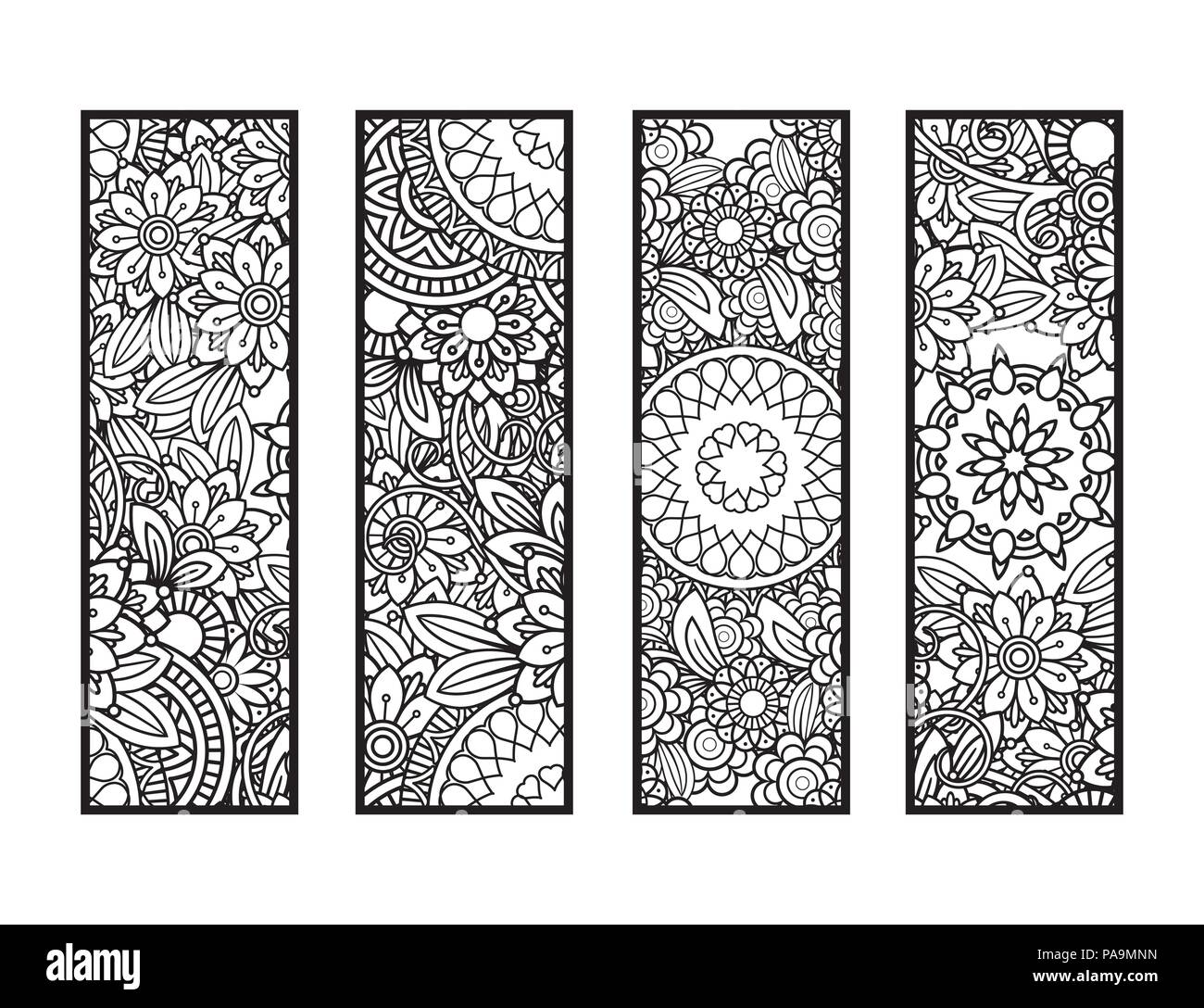 Set of four bookmarks in black and white doodles flowers and ornaments for adult coloring book vector illustration