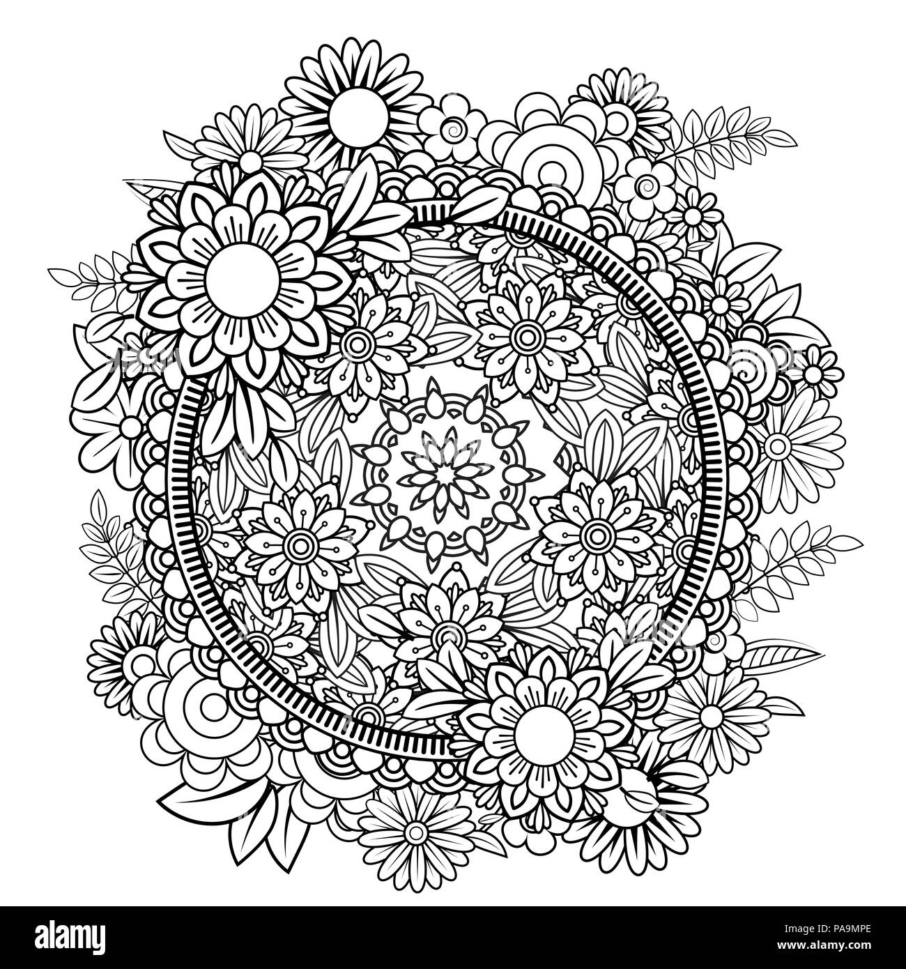 Floral Wreath Coloring Page High Resolution Stock Photography And Images Alamy