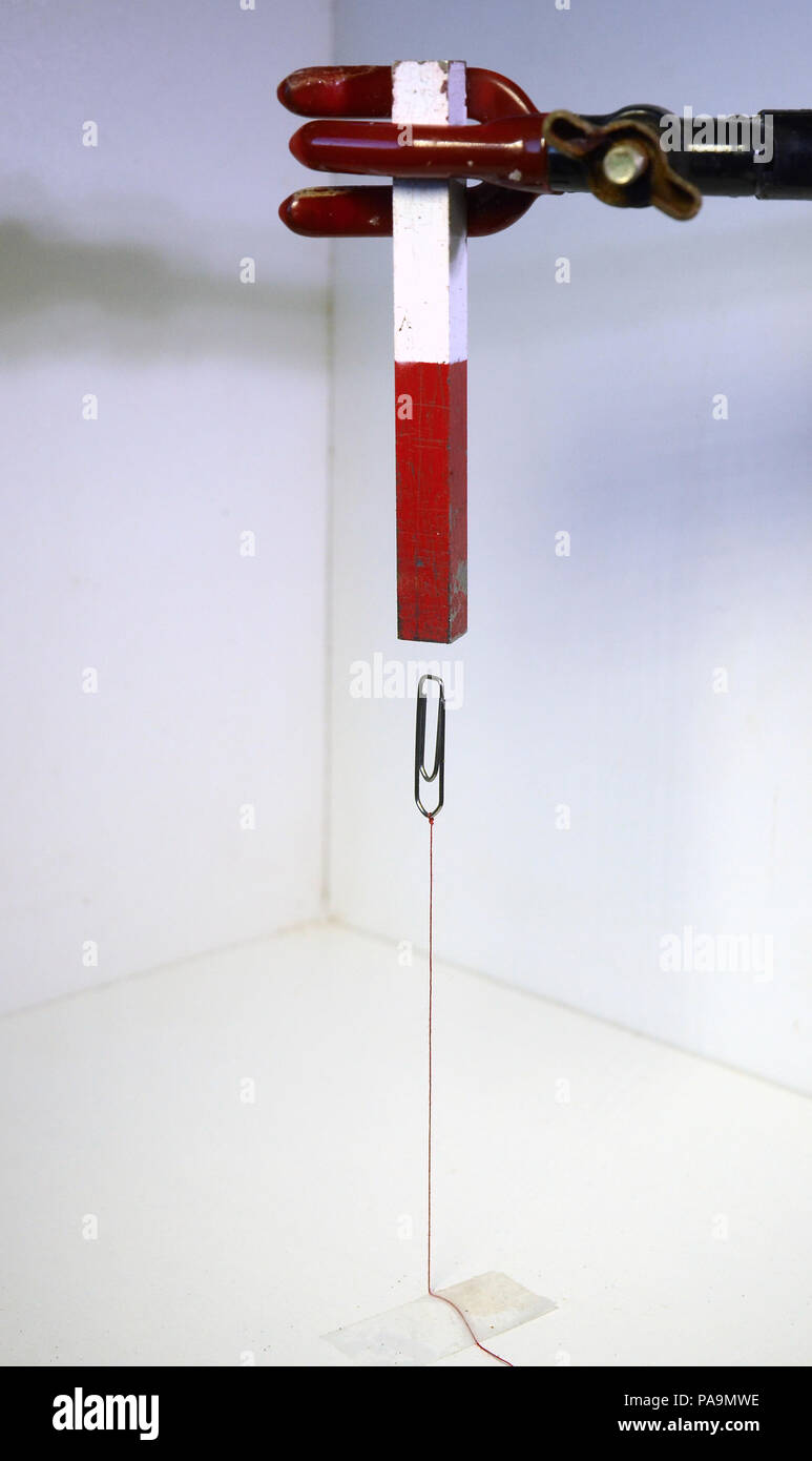 A paperclip attacked to a table with a red string hovers under a magnet., - Stock Image