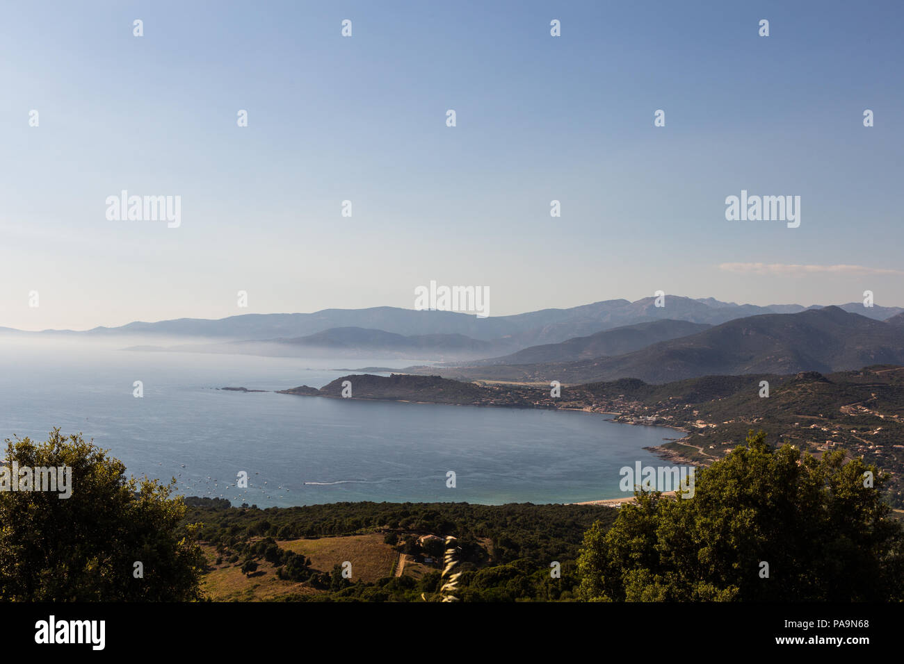 Stunning view of the Corsica coast near Ajaccio in the late afternoon in France - Stock Image