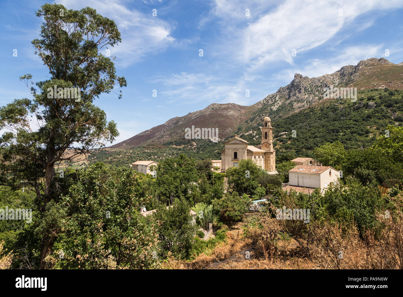 An ancient traditional village in the mountains of Corsica in France - Stock Image