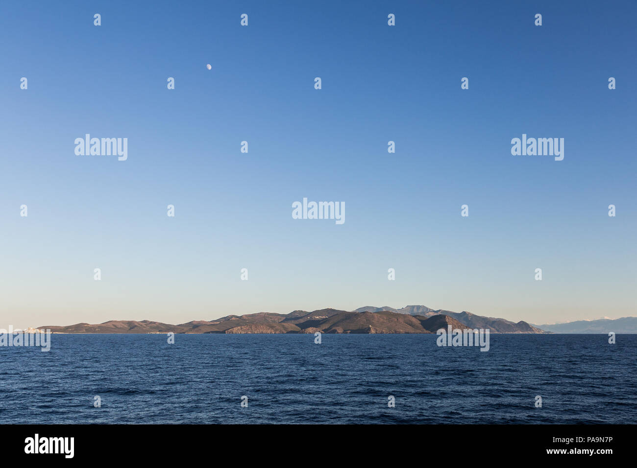 A view from the sea of the island of Corsica in the mediterranean sea in France - Stock Image