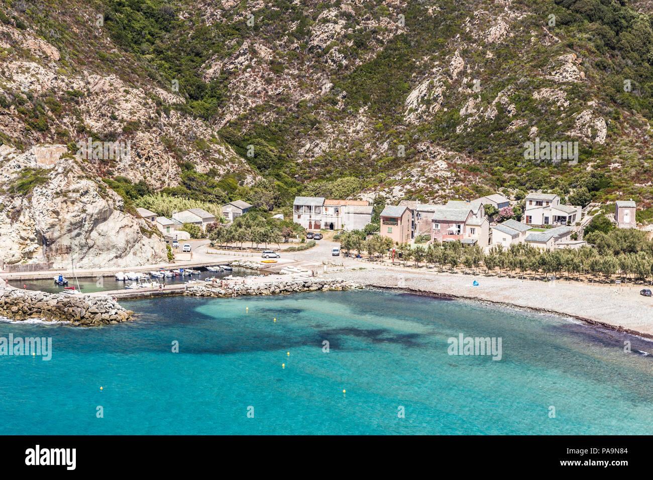 Idyllic bay along the coast  of Corsica in France near the Ile Rousse village. - Stock Image