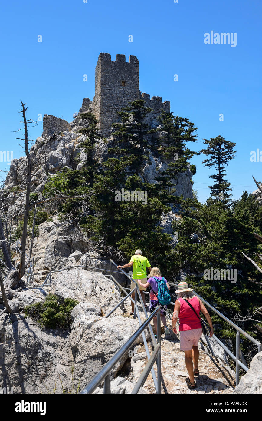 Ascent to the upper level of St Hilarion Castle in the Kyrenia Mountain Range, Turkish Republic of Northern Cyprus - Stock Image