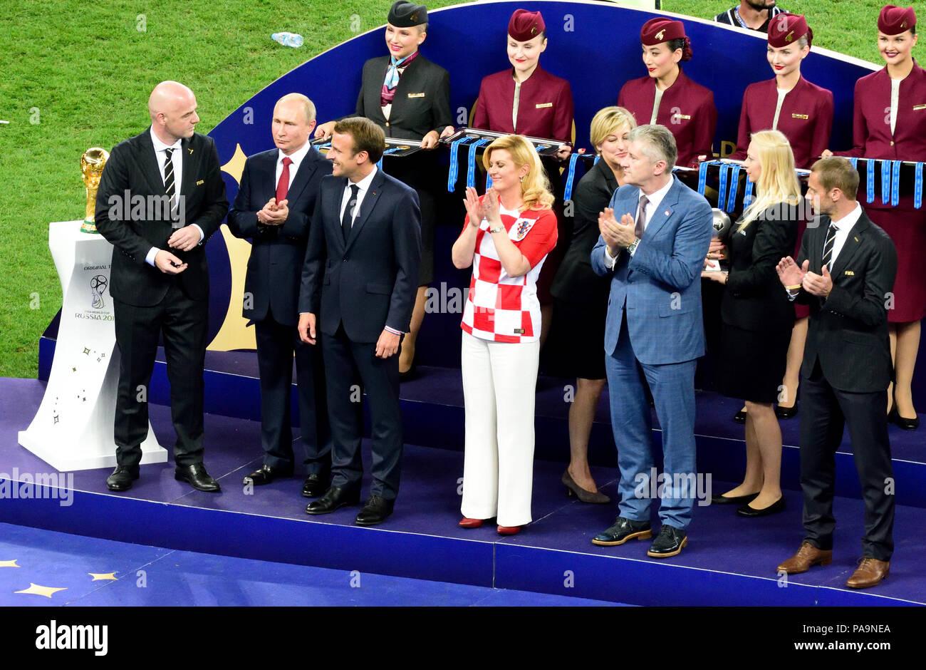 Moscow, Russia - July 15, 2018. Russian President Vladimir Putin, FIFA president Gianni Infantino, French president Emmanuel Macron and Croatia presid - Stock Image
