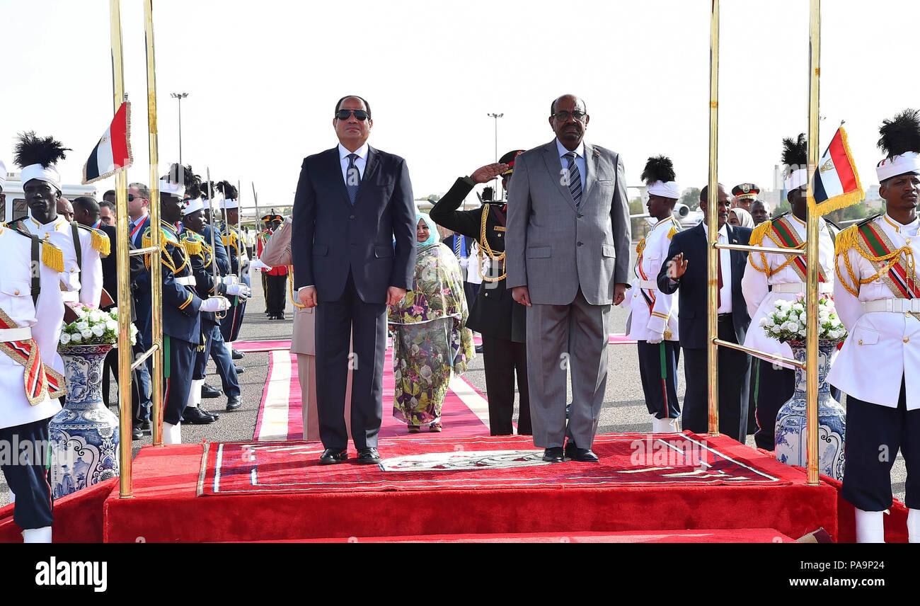 Khartoum, Sudan - 19-20 July 2018 - Egyptian President Abdel Fattah El Sisi makes a 2-day state visit to Sudan for talks with Sudanese President Omar Al Bashir for discussion on bilateral relations and other topics.  (presidential pool photo) - Stock Image