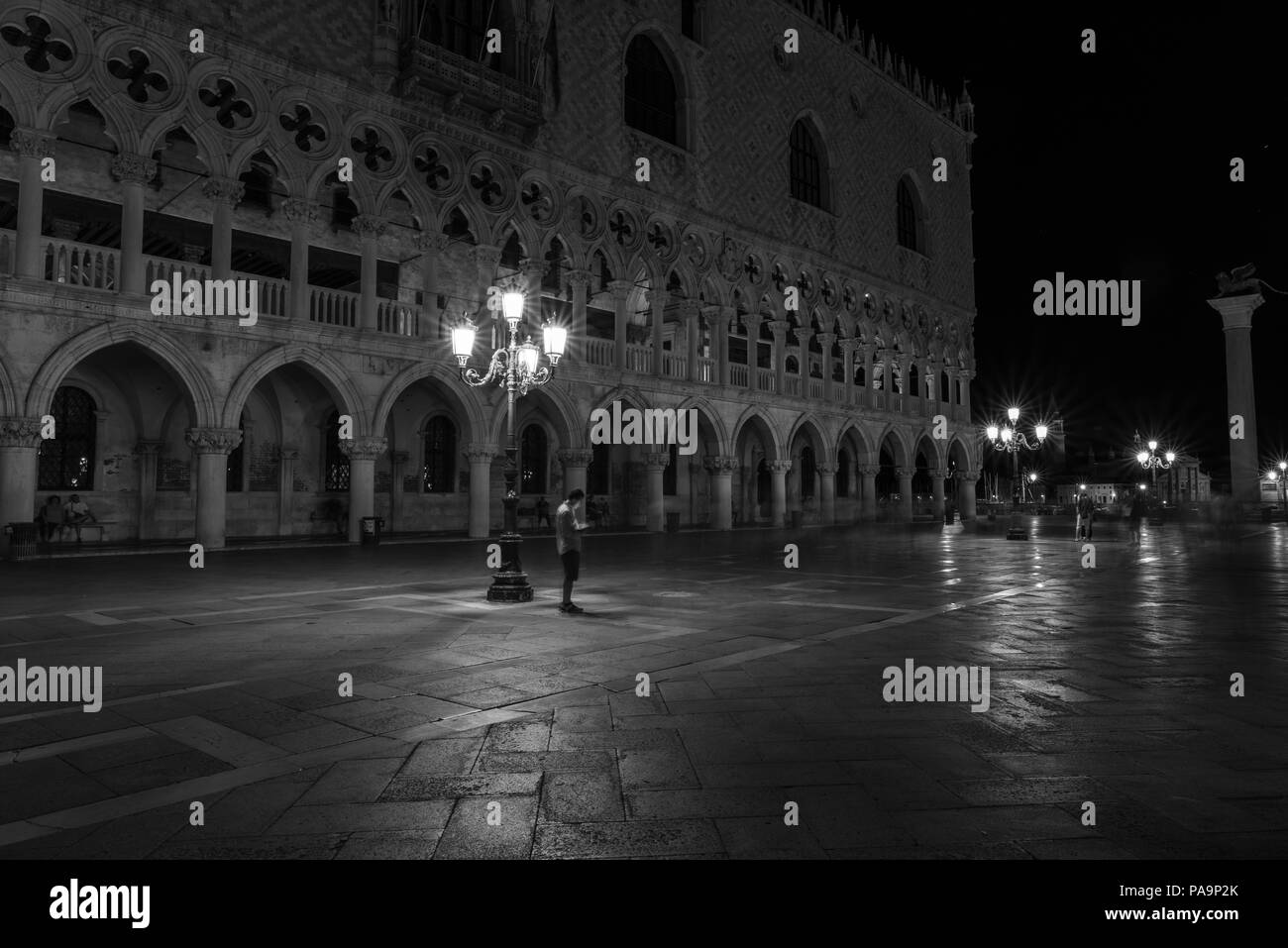 Night in Venice. Black and white - Stock Image