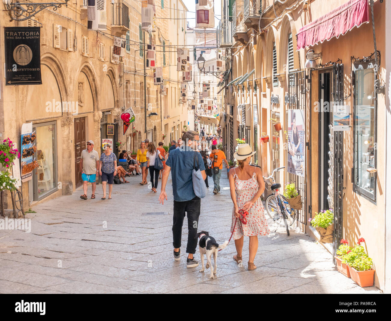 Via Roma in the old town of Alghero, Sardinia, Italy - Stock Image