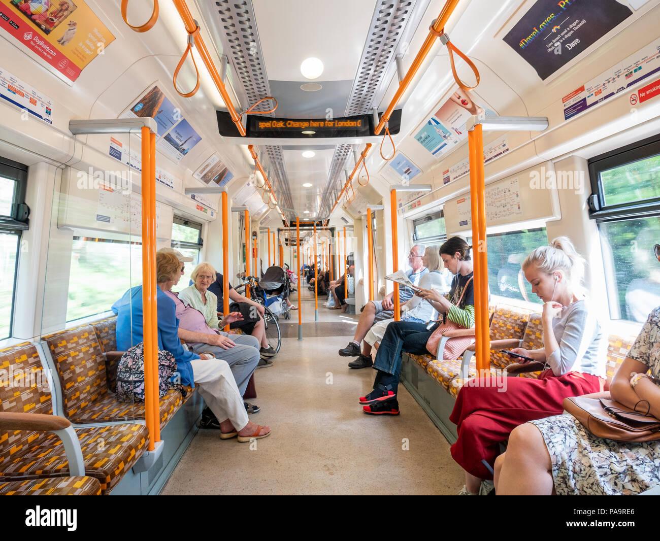 London Overground train carriage, UK - Stock Image