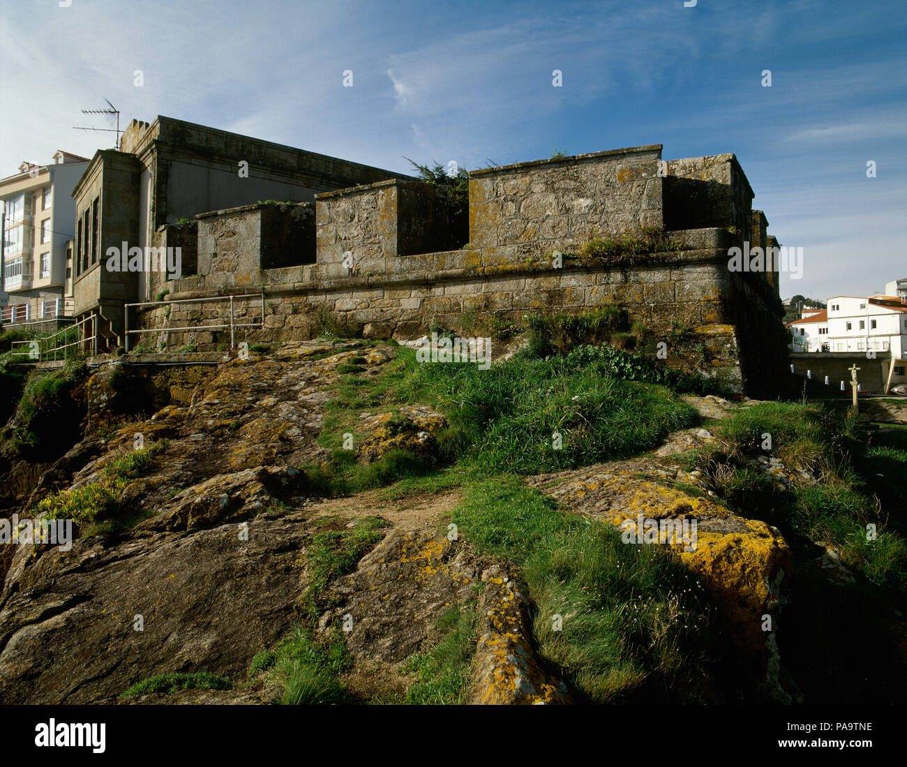 Spain, Galicia, La Coruña province, Fisterra (Finisterre). Saint Charles Castle. Fortification built during the reign of Charles III of Spain, to defend the coast from English attacks, 18th century. Coast of Death. - Stock Image