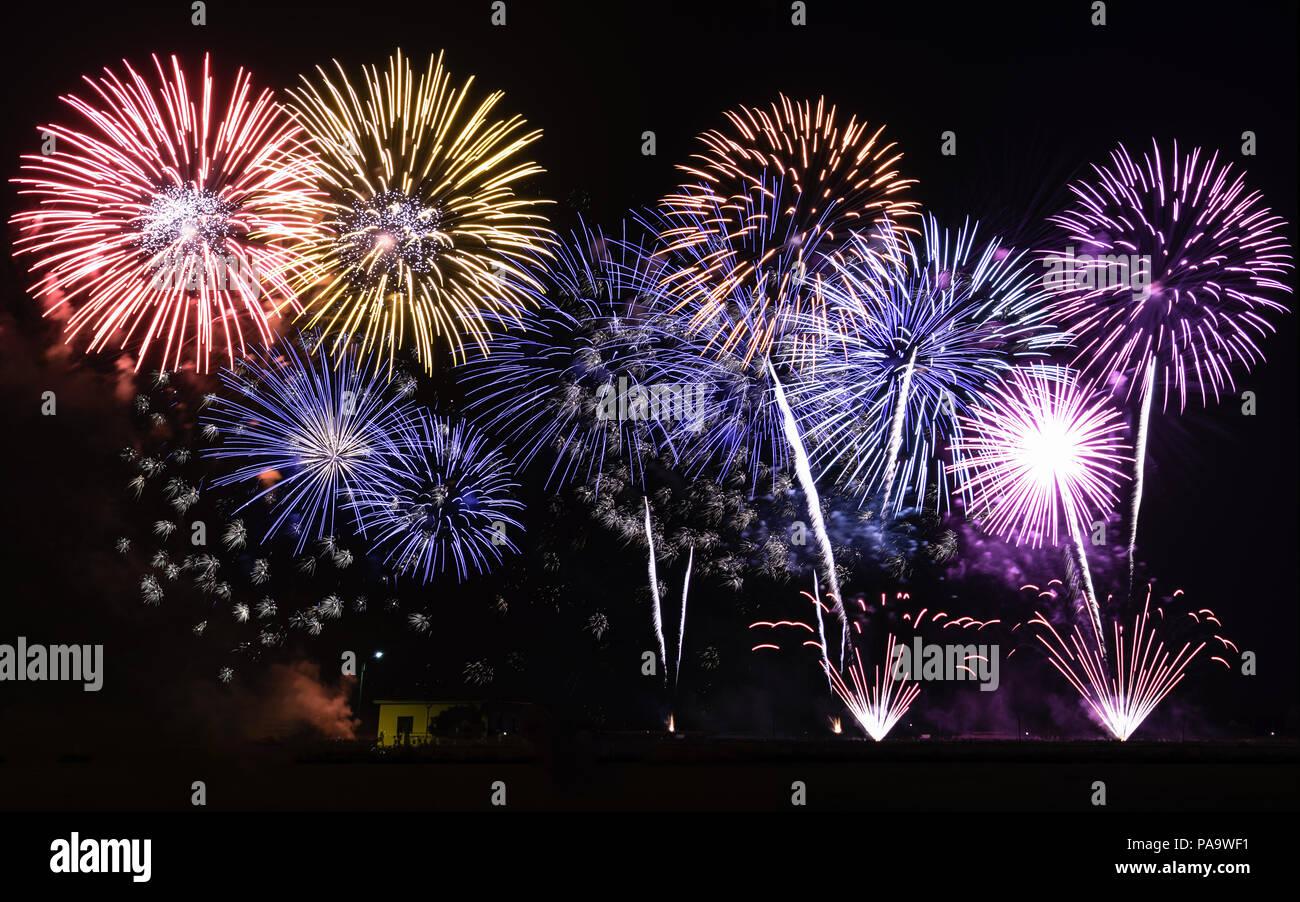 Cassolnovo, Italy. July 2, 2018. Fireworks to celebrate St. Defendente's Day Stock Photo