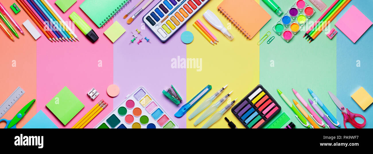 School Supplies With Colorful Paper Background Education Banner Stock Photo Alamy