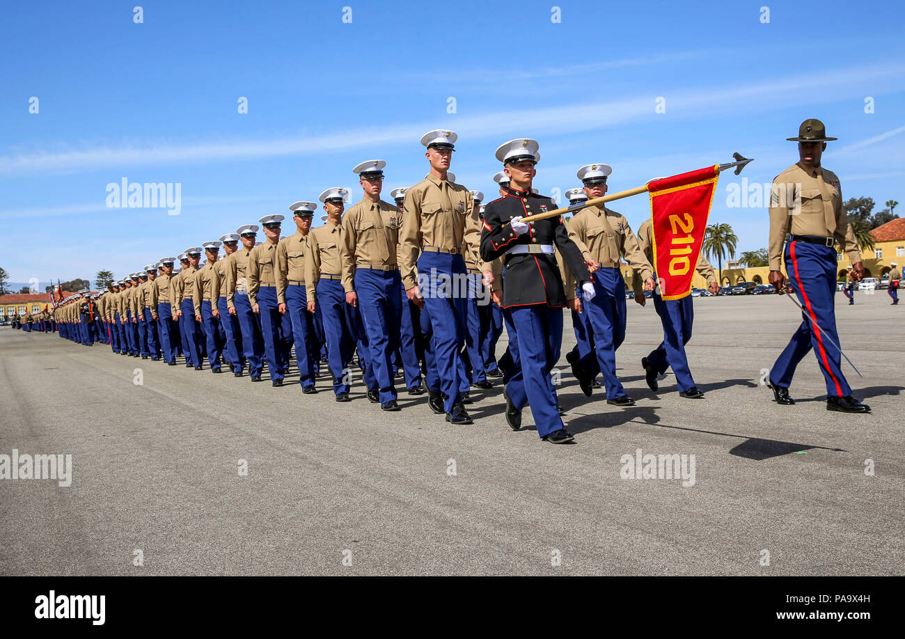 Marines From Echo Company 2nd Recruit Training Battalion March Across The Parade Deck During A Graduation Ceremony At Marine Corps Recruit Depot San Diego March 4 Graduation Takes Place At The Completion