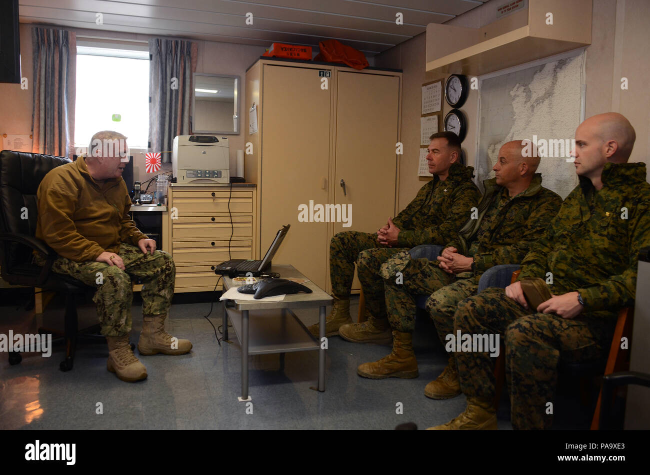 160308-N-WJ640-039 GWANGYANG, South Korea (March 8, 2016) Navy Capt. Robert Rochford, commodore of Maritime Prepositioning Ships Squadron Three, meets with Marines from Combat Logistics Regiment 35 (CLR-35) on USNS Sacagawea (T-AKE 2) here March 8. CLR-35 will be joining the Sacagawea later this week in Pohang as part of Exercise Ssang Yong 16, under the Exercise Freedom Banner 2016 directive. (U.S. Navy photo by Mass Communication Specialist 3rd Class Madailein Abbott/Released) Stock Photo