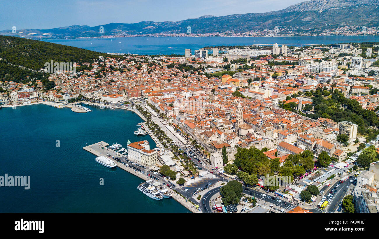 Aerial of Old Split, the Historic Center of Split, Croatia - Stock Image