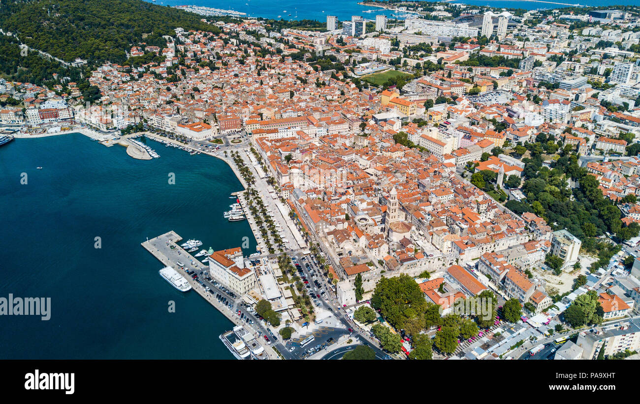 Aerial of Old Split, the Historic Center of Split, Croatia Stock Photo