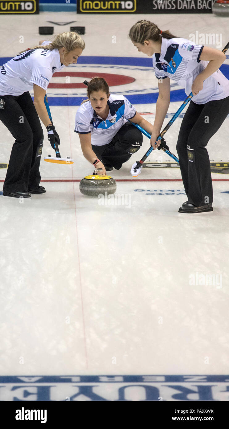 Glasgow, SCOTLAND, Scotland's, Vicki ADAMS, just after, Guiding and releasing, the, 'Stone', over the, 'Hog Line' at the 'Le Gruyère European Curling Championship's', 2016 Venue, Braehead,  Scotland, Sunday  20/11/2016  © Peter SPURRIER, - Stock Image