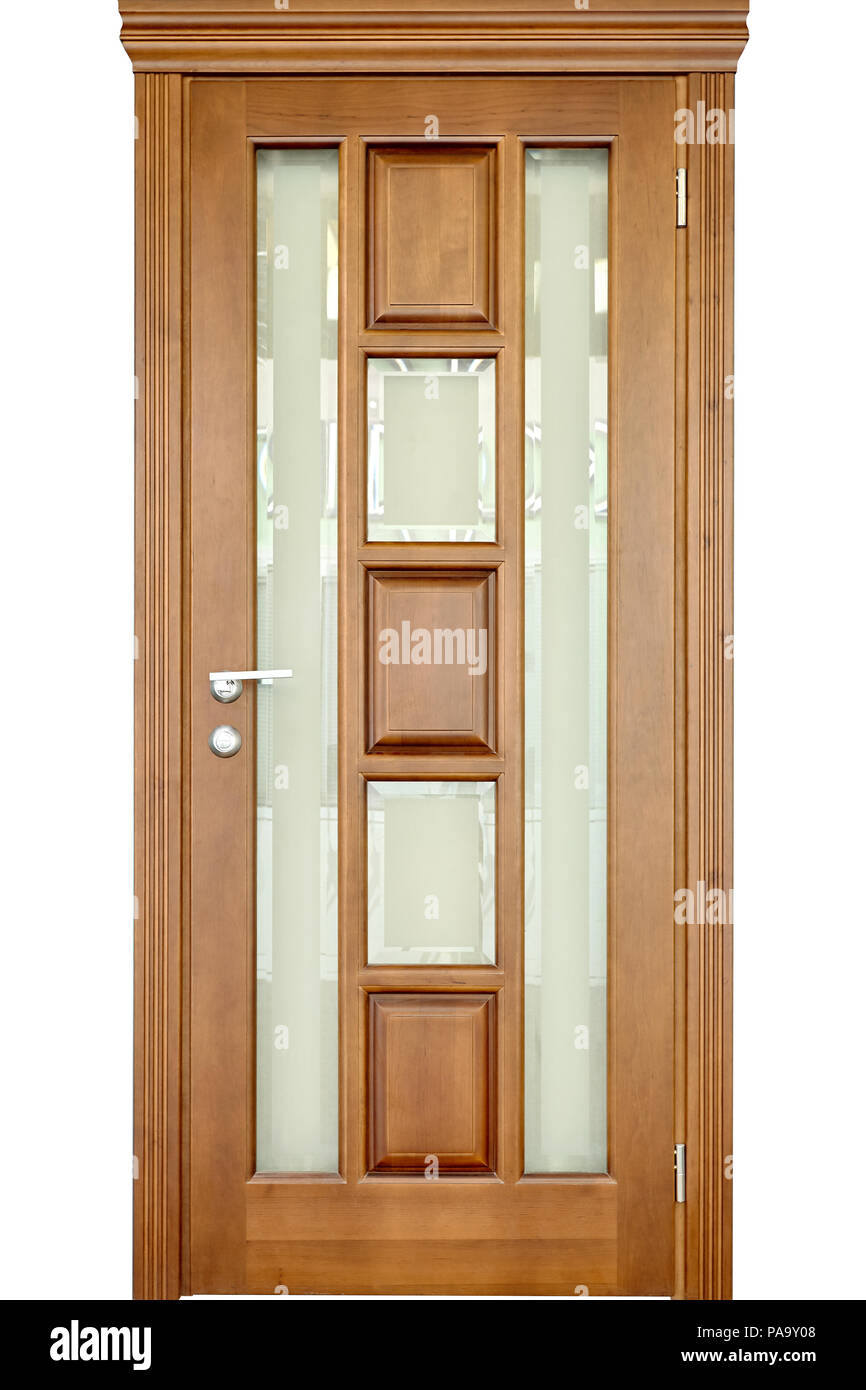 Wooden Interior Door Of Rhickory Or Walnut Wood With Silver Handle